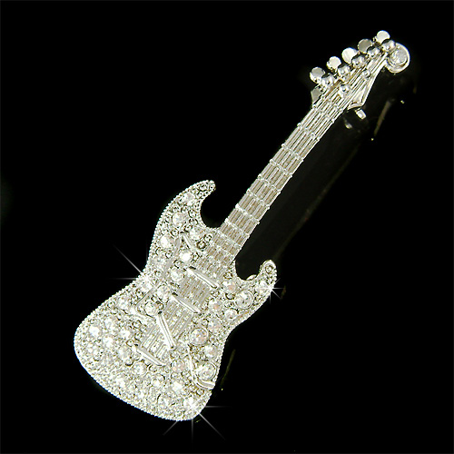 Electric Guitar Made With Swarovski Crystal Music Musical Instrument Pin Brooch